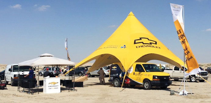 A view of the Jaidah Automotive service tent.