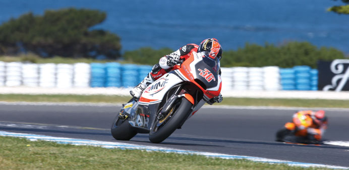 QMMF Racing Team's Mika Kallio in action during the Moto2 qualifying yesterday.