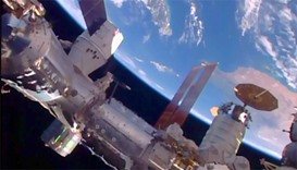 NASA TV image shows SpaceX's unmanned Dragon cargo ship docked at the International Space Station