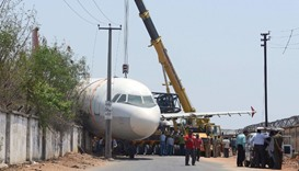 Disused Air India aircraft falls off crane in Hyderabad