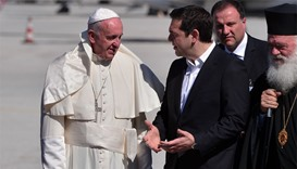 Pope Francis and Greek Prime Minister Alexis Tsipras at Lesbos.