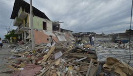 Picture taken in one of Ecuador's worst-hit towns, Pedernales, a day after a 7.8-magnitude quake hit