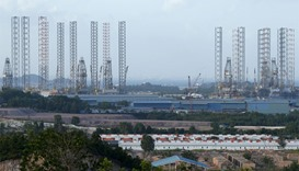 Oil rigs, Waterfront City on Batam island, Indonesia