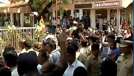 Workers protest at Shani Shingnapur Temple (Maharashtra) over entry of women in the temple
