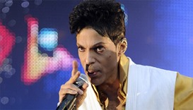 US singer and musician Prince performing on stage