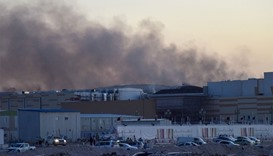 Smoke coming from the section in the under construction Mall of Qatar where a fire broke out.