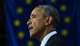 US President Barack Obama delivers remarks after touring Hannover