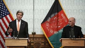 US Secretary of State John Kerry (L) and Afghanistan's President Ashraf Ghani take part in a press c