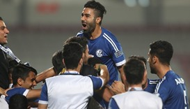 Aghil Kaabi (C) from Iran's Esteghlal Khuzestan celebrates after scoring a goal against Qatar's  Lek