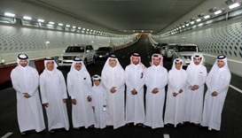Saad bin Ahmed al-Mohannadi and other Ashghal officials at the opening of the Onaiza tunnel