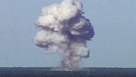 GBU-43/B detonates during a test at Elgin Air Force Base, Florida, U.S., November 21, 2003.