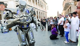 'Titan the Robot' interacts with the crowd.