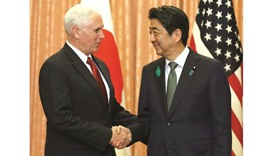 US VP Mike Pence meets with Japan's Prime Minister Shinzo Abe at Abe's official residence in Tokyo.