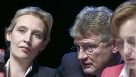 Joerg Meuthen Germany's anti-immigration party Alternative for Germany (AFD) is flanked by Alice Wei