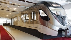 Life-sized mock-up of the Doha Metro train.