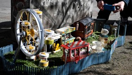 "A miniature amusement park for mice called ""Tjoffsans tivoli"" is seen in Malmo, southern Sweden"
