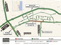 Road closure in Al Khor