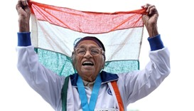 101-year-old Man Kaur from India celebrates