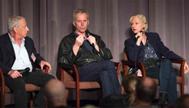 Director Bruno Dumont (C) attends a Q&A during the Colcoa French Film Festival