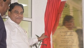 Sri Lankan ambassador PDSPA Liyanage declares open the new primary school.