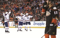 Oilers stun Ducks with a late flurry to take series opener