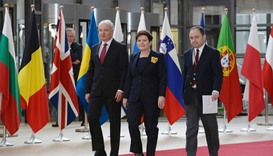 Poland's Prime minister Beata Szydlo (C) arrives to take part in the EU leaders summit