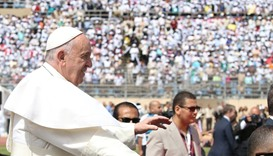 Pope Francis arrives to lead a mass in Cairo