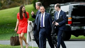 White House Director of Strategic Communications Hope Hicks, Chief Strategist Steve Bannon, Chief of