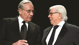 Former Washington Post reporters Bob Woodward (left) and Carl Bernstein speak at the head table befo