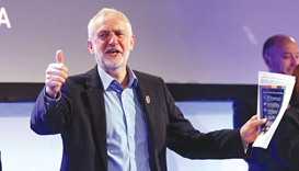 Jeremy Corbyn gestures after speaking at the National Association of Head Teachers conference in Tel