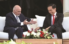 Afghan president praised for peace efforts on Indonesia visit