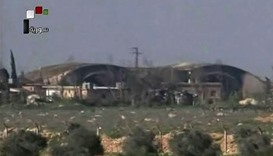 An image grab taken from the state-run Syrian news channel reportedly shows a view of the Shayrat (""