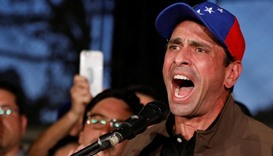 Venezuelan opposition leader and Governor of Miranda state Henrique Capriles speaks during a news co