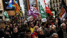People take part in a protest in support of jailed Catalan activists and leaders in Madrid