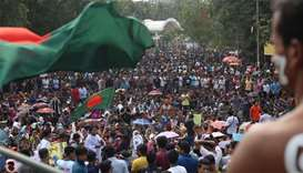 Bangladeshi students gather for a protest against quotas for certain groups of people in government