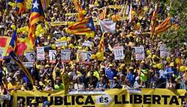 Thousands march in Barcelona to protest jailing of separatist leaders
