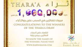 Barwa Bank announces April draw winners