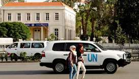 The United Nation vehicle carrying the Organisation for the Prohibition of Chemical Weapons
