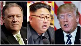 CIA Director Mike Pompeo (L), North Korean leader Kim Jong Un (C), North Korea and U.S. President Do