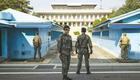 South Korean soldiers standing guard before a United Nations Command Military Armistice Commission (