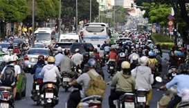 Traffic along a crowded street in central Ho Chi Minh City. Some 71 Vietnamese nationals were deport