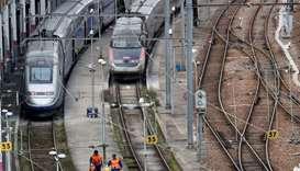 TGV high-speed trains operated by state-owned railway company SNCF are parked in a SNCF depot statio