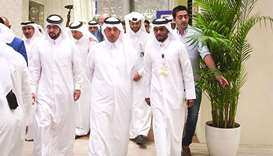 HE the Prime Minister and Interior Minister Sheikh Abdullah bin Nasser bin Khalifa al-Thani is accom