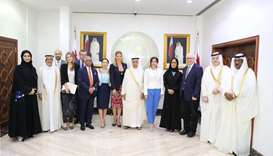 HE the Advisory Council Speaker Ahmed bin Abdullah bin Zaid al-Mahmoud and other Council members wit