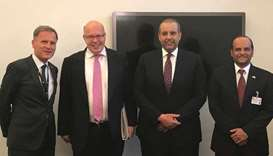 German ambassador Hans-Udo Muzel (left) is seen with HE the Minister of Economy and Commerce Sheikh