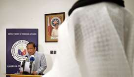 Filippino Ambassador in Kuwait Renato PO Villa speaks during a press conference