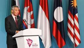 Singapore Prime Minister Lee Hsien Loong speaks during a press conference at the 32nd ASEAN Summit i