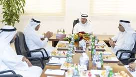 QEWC chairman HE the Minister of Energy and Industry Dr Mohamed bin Saleh-Sada briefs HE the Prime M
