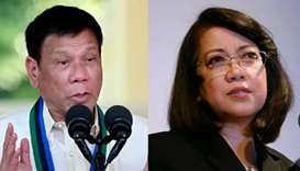 President Rodrigo Duterte (left) and Supreme Court Chief Justice Maria Lourdes Sereno
