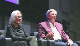 John Bailey and Carol Littleton during a presentation at NU-Q.